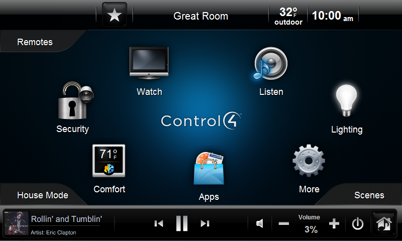 Control4 Interface Gallery Streamline Systems